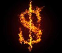 dollar in fire