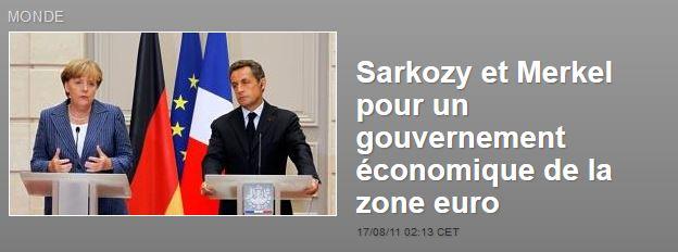 Sarkozy et Merkel pour un gouvernement économique de la zone euro sarkozy merkel