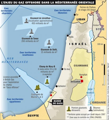 gaza gaz carte gisements offshore