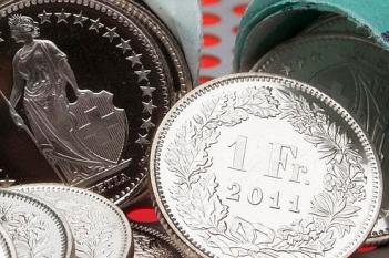 One Swiss Franc coins are seen in this illustration picture in Zurich