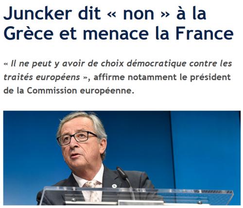 Juncker pas de democratie contre les traites europeens