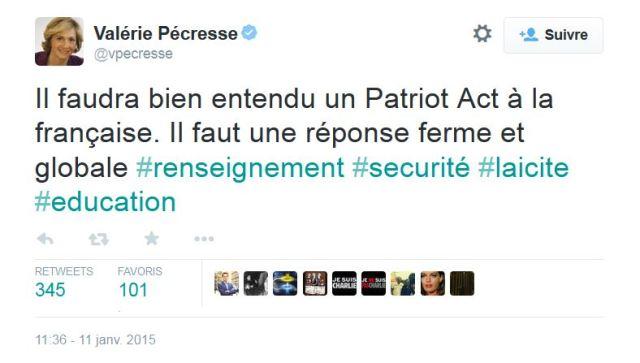 Valérie Pécresse sur Twitter Il faudra bien entendu un Patriot Act à la française