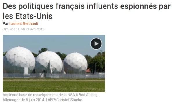 Des politiques français influents espionnés par les Etats-Unis - RFI