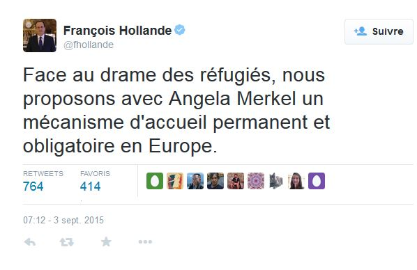 Hollande mecanisme accueil refugies permanent et obligatoire en europe